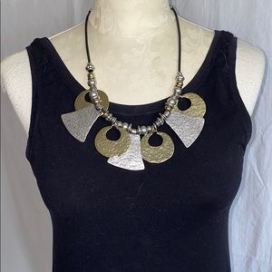 Chico's hammered gold & silver statement necklace